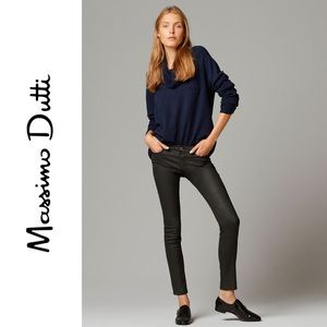 Massimo Dutti Coated Skinny Fit Black Jeans